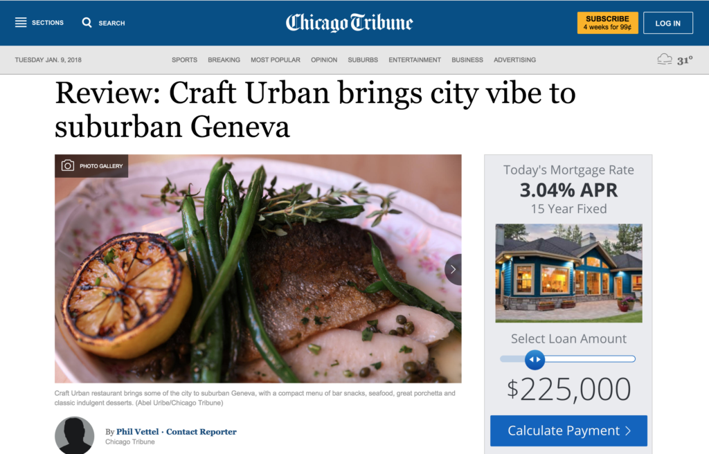 Chicago Tribune Website Screen Shot of Page Featuring Craft Urban