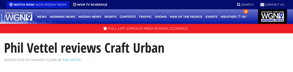 WGN News Website Screen Shot of Page Featuring Craft Urban