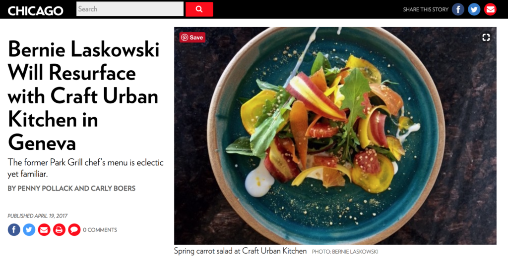 Chicago Magazine Website Screen Shot of Page Featuring Craft Urban's owner Bernie Laskowski