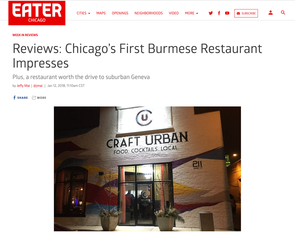 Eater Chicago Web Page Screen Shot of Review Article Heading